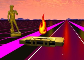 The [computer] cassette is 3 feet above the ground.  It leans 90 degrees to the back.    The ground has the [grod] texture. The texture is 5 feet tall.  The orange light is behind the road.  It is 150 feet above the road.  The first gold light is 150 feet left of the orange light.  The second gold light is 150 feet right of the orange light.  The road is -3 feet above the cassette.  The road is 2000 feet deep.  The lawn of the road is magenta.  The line of the road is white.  The road of the road is dark magenta. The road is 15 feet wide. The road is 0.4 inches tall.  It is noon.  The camera light is black.  The background is [mountains].   The small gray statue is 5 feet left of the road.  It is 15 feet behind the cassette.  It faces the cassette.  The statue is unreflective.  The tiny fire is 0.5 inches above the cassette.  The bright daffodil yellow light is in front of the fire. It is 0.5 inch below the fire.