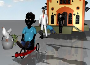 a black man is riding a bicycle. a white man is 6 feet behind the black man. a pistol is in front of the white man. the pistol is 2 feet high. a bucket of chicken and a melon are next to the black man. a black woman and a black kid are 6 feet behind the white man. behind the black woman is a grocery store.