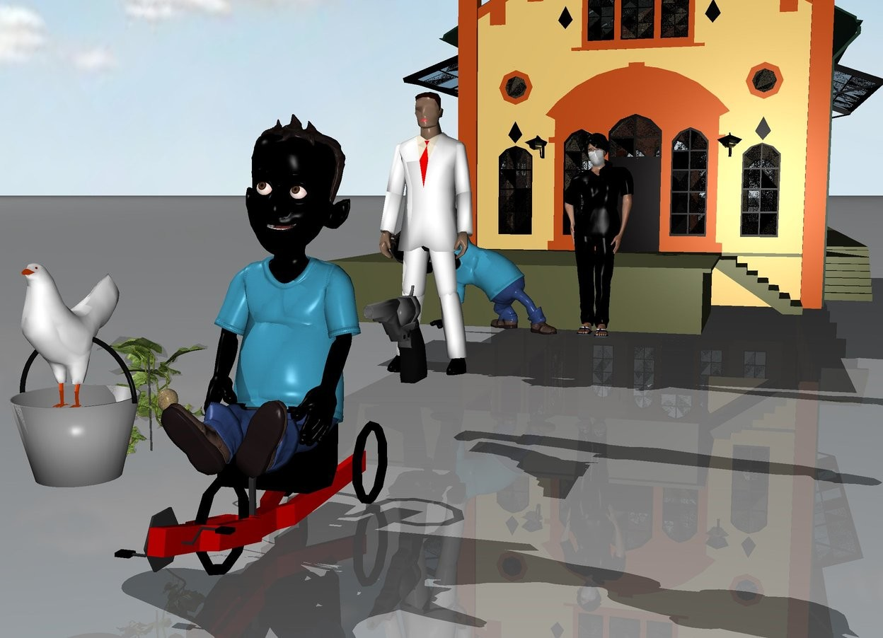 Input text: a black man is riding a bicycle. a white man is 6 feet behind the black man. a pistol is in front of the white man. the pistol is 2 feet high. a bucket of chicken and a melon are next to the black man. a black woman and a black kid are 6 feet behind the white man. behind the black woman is a grocery store.