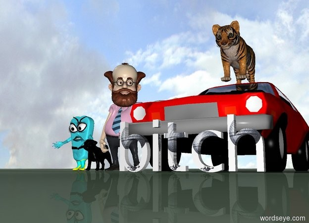 Input text: the Jewish man is standing next to the red car. A large black pug is standing next to him. The sky is orange. the ground is green. there is a large tiger on top of the car. the word [bitch] is in front of the car. A jewish child is to the left of the pug. there is a lightning bolt in the sky. the ground has a zigzag pattern.