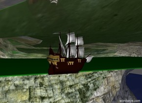 Golden Valley . Large Crystal Mountain . Yellow , green, red gems . In the background , the green sea . At sea, the great ship .