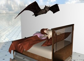 The man is -4 feet above the bed. He is leaning 70 degrees to the back. The enormous bat is 1 foot above the man. It is facing back. The ground is shiny tile. The wall is to the left of the bed. It is facing the bed.