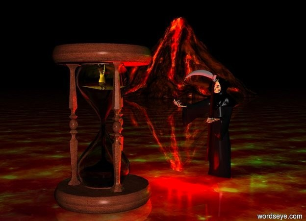 Input text: death.a 8 feet tall hourglass is 3 feet in front of death.a tiny man is -2.2 feet above the hourglass.the man is facing death.two yellow lights are in front of the man.death is 7 feet tall.three red lights are in front of death.[fire]ground.a volcano is 100 feet left of death.the volcano is 60 feet behind death.a green light is above death.it is night.the ground is shiny.two green lights are 1 feet behind death.