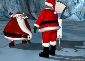 Santa is facing second santa. Second santa is facing santa. A sleigh is behind santa