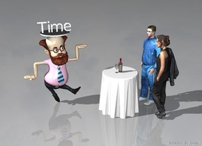 "The huge cylinder is on the man. It is one inch tall. The small ""Time"" is on the cylinder. The table is in front and to the right of the man. The second man is to the right of the table. He is facing left. The woman is in front of the second man. She is facing the table. The bottle is on the table. The glass is next to the bottle."