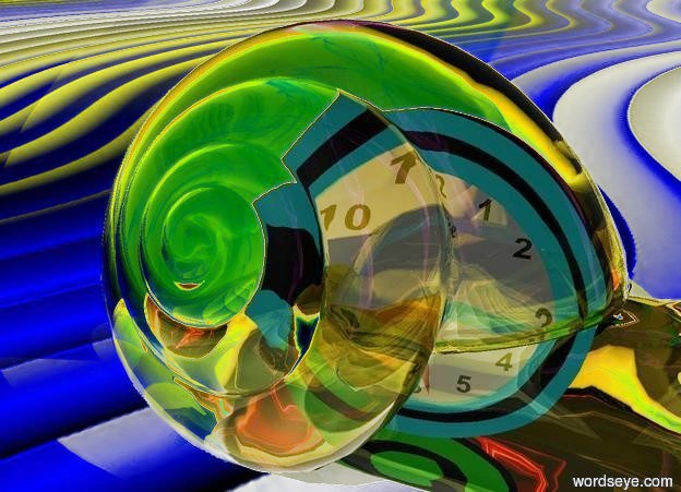 Input text: ground is [texture].ground is yellow.sky is [rainbow].a 10 inch tall orange clear snail.a 8 inch tall clock is 10 inch in the snail.the clock is facing west.in the snail are two yellow lights.