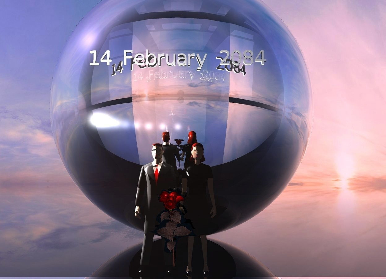 "Input text: 2 people are behind a clear building. The ground is clear. A humongous silver sphere is behind the people. 12 lights are above the people. A small ""14 February 2084"" is in front of and -10 feet above the sphere. The sun is pink. A huge red rose is in front of the people. It is leaning 40 degrees to the front."
