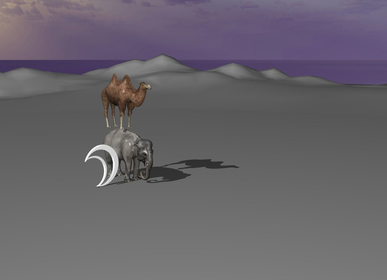 Input text: the camel rides the elephant. the moon is 6 feet high. 40 meters left from the elephant is a tree.
