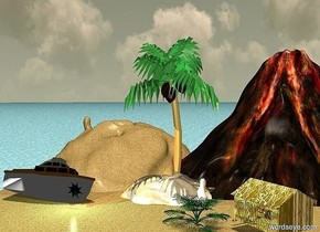 a sand lake. 1st sand cave is -6 feet above the lake. 1st palm tree is -3 feet above the cave. 2nd large sand cave is -33 feet to the back of and -29 feet to the left of the 1st cave. it is -6 feet above the lake. it faces back. a 50 feet tall volcano is -48 feet right of and -41 feet to the back of the 1st cave. a yacht is -2 feet to the front of the 2nd cave and above the lake. it faces right. it leans 25 degrees to the left. the hull of the boat is white. a large black star is -4.5 feet to the right of  and -0.1 feet to the front of the boat. it is 2.5 feet above the lake. a 10 feet tall [grass] hut is 5 feet to the southeast of the palm tree. it faces southwest. 2nd palm tree is -1.6 feet left of the hut. the ground is [water]. a orange light is 1 inch in front of the star. a cyan light is above the orange light. it is noon
