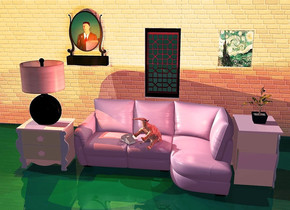 a lilac sofa. a  [texture] anteater is -2.9 feet above and -3.3 feet to the front of the sofa. it leans 61 degrees to the back. it faces southwest. a beige phone is -0.5 feet left of the anteater and -1.6 feet above the sofa. it faces southeast. the push button of the phone is beige. the body of the phone is beige. The ground is [rug]. 1st 10 feet tall and 12 feet long [brick] wall is left of the 2nd 2 feet tall and 2 feet long [brick] wall. the 2nd wall is 3 feet behind the sofa. 3rd 10 feet tall and 8 feet long [brick] wall is right of the 2nd wall. a window is above the 2nd wall. 4th 3 feet tall and 2 feet long [brick]wall is above the window. 1st nightstand is 0.1 feet right of the sofa. it faces right. 2nd 2 feet tall nightstand is 0.1 feet left of the sofa. a 3 feet tall lamp is on the 2nd nightstand. 2 orange lights are -6 inches above the lamp. a 2 feet tall and 1.8 feet wide [van gogh] paper is  2 feet right of the window and 0.01 feet to the front of the wall. it is 4 feet above the ground. the camera light is dim forget me not blue. the ambient light is lilac. a  1.5 feet tall plant is on the 1st nightstand. 3 dim old gold lights are 2 inches above the anteater. a copper light is 1 inch right of the anteater. a mirror is 2 feet left of the window and 0.01 feet to the front of the wall. it is 4 feet above the ground. a man is 8 feet to the front of  and 0.5 feet to the left of the mirror. he is on the ground. he faces back. the sky is [brick]. 3 dim beige lights are 1 inch above the phone
