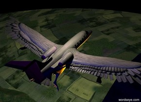 A very tiny plane is -2 feet above a huge white bird. The bird is 800 feet above the ground. The bird is leaning 39 degrees to the front. A cream light is above the plane. It is night. Camera light is black. A navy light is 5 feet behind the plane. A purple light is -1 feet above the plane. A red light is on the ground. It is 10 feet in front of the plane. 4 orange lights are next to the red light.