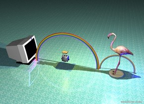 The humongous flamingo is on the humongous plate. It is night. Several blue lights are under the flamingo. The ground is water texture. A small rainbow is behind the flamingo. Another rainbow is below the rainbow. Several magenta lights are to the left of the rainbow. A humongous monitor is under the rainbow. The monitor is facing the flamingo. The flamingo is facing the monitor. A  humongous light is above the flamingo. A humongous toaster is south of the rainbow. A humongous bread is 5 feet above the toaster. A humongous gold light is above the bread. The flamingo is on fire. The toaster is 10 feet above the ground.