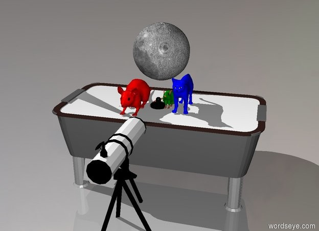 Input text: The green mouse is on the table. The extremely big red mouse is next to the green mouse. The blue cat is right of the green mouse. The big full moon is behind the red mouse. The telescope is in front of the table.