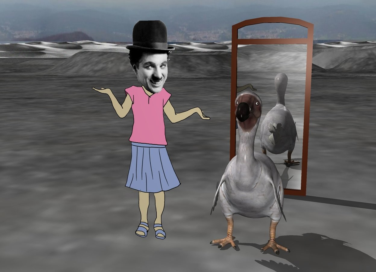 Input text: charlie chaplin is next to the large dodo. the moonscape.  The large mirror is 3 feet behind the dodo.