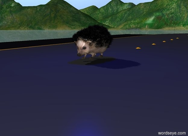 Input text: the hedgehog is on the road. there is a blue light one foot above the hedgehog