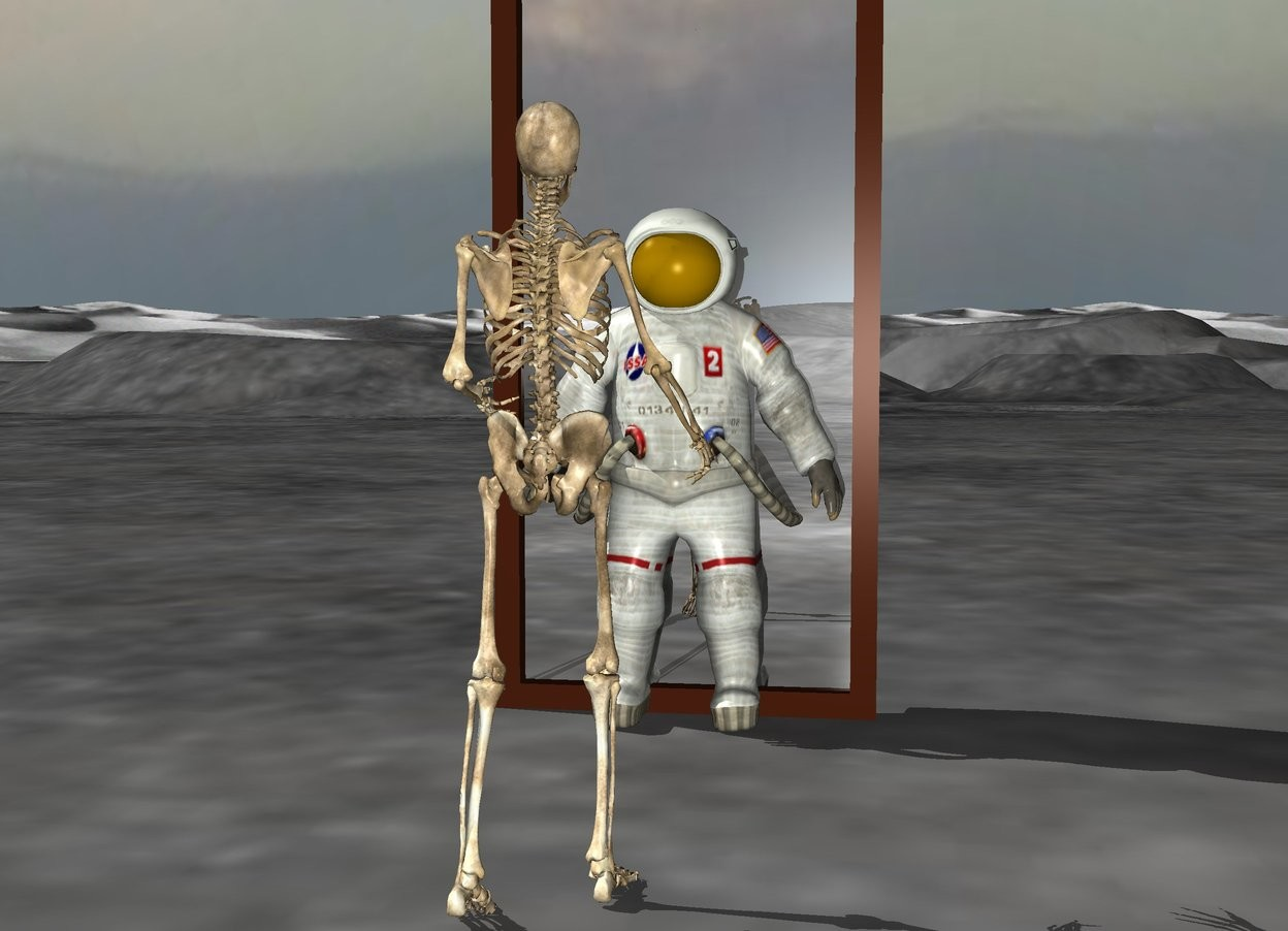Input text: the skeleton is 5 feet in front of a 10 feet tall mirror. The skeleton is facing the mirror. The astronaut is 4 feet behind the skeleton.