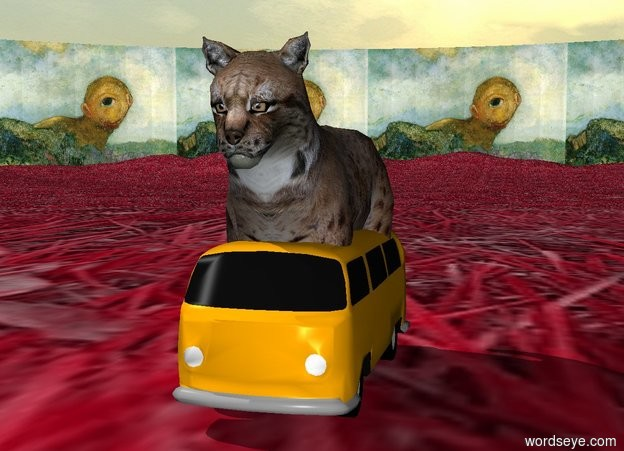 Input text: The cat is on the pink grass.  The sky is cloudy. There is a tiny car under the cat. There is a monster in the background..