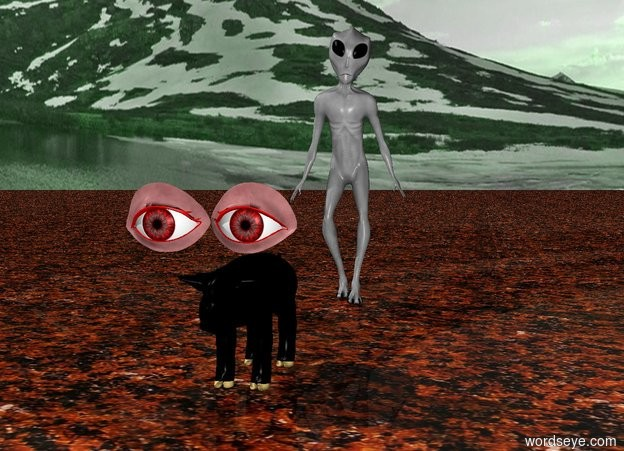 Input text: There is a black pig.  There are giant red eyes above the pig. The sky is green and cloudy.  There is an alien far behind the pig.  The ground is red liquid