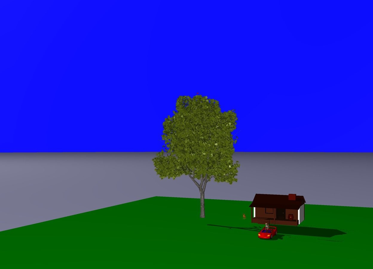 Input text: The cat is on the car. The house is 7 feet behind the cat. The dog is 4 feet left of the house. The sky is blue. The grass is green.The tree is one feet left of the dog.The flower blossom is in front of the house.The apples are in the tree.