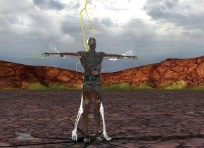 a transparent man. the man's swimsuit is transparent. a skeleton is -1.5 foot south of the man. the man is 1 foot off the ground. a huge lightning bolt is -3 feet above the man. an unreflective flat [black] north star is under the man. the north star is leaning 90 degrees to the north. the north star is on the ground. the north star is 15 feet long. a  lightning is -3 foot left of the man. the lightning is 3 feet off the ground. the lightning is leaning 90 degrees to the east. another lightning is -3 foot right of the man. the lightning is 3 feet off the ground. the lightning is leaning 90 degrees to the west. another lightning is -3 foot right of the man. the lightning is 1 feet off the ground. the lightning is leaning 90 degrees to the west. another lightning is -3 foot left of the man. the lightning is 1 feet off the ground. the lightning is leaning 90 degrees to the east. another lightning is -1 foot left of the man. the lightning is 4.5 feet off the ground. the lightning is leaning 90 degrees to the east. another lightning is -1 foot right of the man. the lightning is 4.5 feet off the ground. the lightning is leaning 90 degrees to the west.