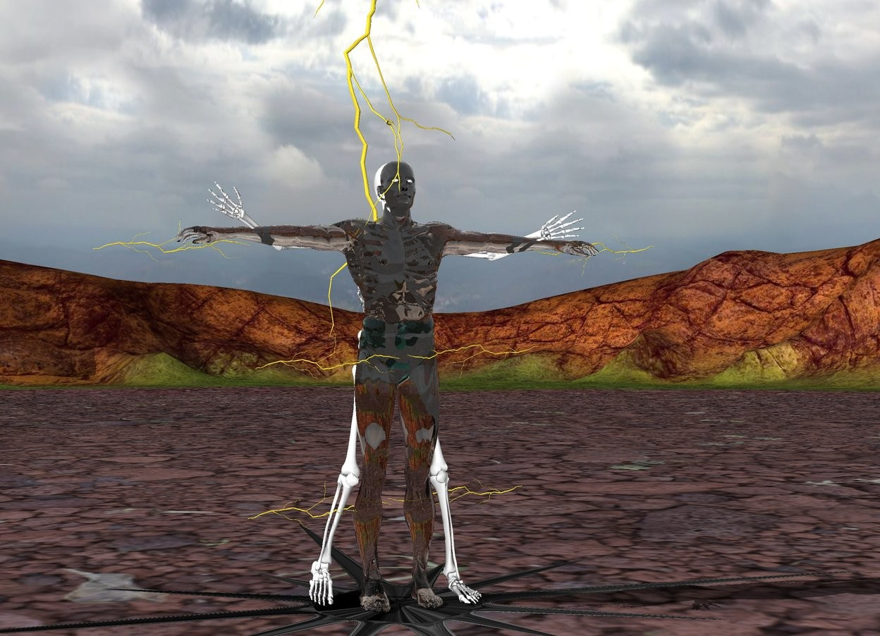Input text: a transparent man. the man's swimsuit is transparent. a skeleton is -1.5 foot south of the man. the man is 1 foot off the ground. a huge lightning bolt is -3 feet above the man. an unreflective flat [black] north star is under the man. the north star is leaning 90 degrees to the north. the north star is on the ground. the north star is 15 feet long. a  lightning is -3 foot left of the man. the lightning is 3 feet off the ground. the lightning is leaning 90 degrees to the east. another lightning is -3 foot right of the man. the lightning is 3 feet off the ground. the lightning is leaning 90 degrees to the west. another lightning is -3 foot right of the man. the lightning is 1 feet off the ground. the lightning is leaning 90 degrees to the west. another lightning is -3 foot left of the man. the lightning is 1 feet off the ground. the lightning is leaning 90 degrees to the east. another lightning is -1 foot left of the man. the lightning is 4.5 feet off the ground. the lightning is leaning 90 degrees to the east. another lightning is -1 foot right of the man. the lightning is 4.5 feet off the ground. the lightning is leaning 90 degrees to the west.