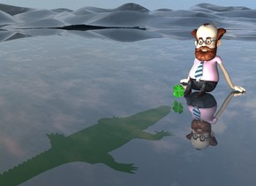 a man.a  large clover is 1 foot in front of the man.the clover is leaning 10 degrees to the north.a white light is above the clover. the white clear ground. the solid green crocodile is 1 foot in front of the clover. it is 2.2 feet in the ground.  it is facing back.