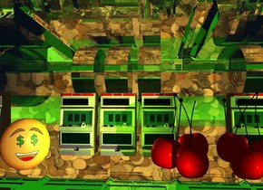 The first slot machine.  It is 50 feet tall.  It is 10 feet deep.  It is 10 feet wide.  It leans 90 degrees to the back.  It is entirely white and clear.  The ground is shiny forest green.  The sky has the [coin] texture.  The texture is 2000 feet tall. The sky is shiny.  The lime light is 20 feet above the first slot machine.  The green light is 200 feet left of the lime light.  The spring green light is 200 feet right of the lime light.    The camera light is black.    The second slot machine is -9 feet above the first slot machine.  It is -6.5 foot right of the first slot machine. The 3 lawn green lights are in front of the second slot machine.  They are -2 foot above the second slot machine.  The third slot machine is right of the second slot machine.  The fourth slot machine is left of the second slot machine.  The sun is orange.  The human face is 2 foot in front of the fourth slot machine. It is -0.5 foot left of the fourth slot machine. It faces southeast.  It is left of the fourth slot machine.  The enormous group is 4 feet right of the human face.  The group is red.  The pink light is in front of the group.