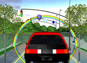honda is 10 inches left of first signal.  the honda is facing east. second signal is 150 inches right of the first signal. third signal is 100 inches right of the second signal.  very small rainbow is right of the second signal. the rainbow is facing the east. the rainbow is -10 inches above the ground.   bird is -20 inches south of the honda. the bird is 80 inches above the ground. the bird is facing the north. the bird is blue.  green light is north of the honda. the green light is 80 inches above the ground.  freeway is 0.3 inches under the honda. the freeway is facing the east. the freeway is shiny.  small linden tree is -30 inches south of the first signal. small linden tree is above the ground. second small linden tree is 120 inches north of the first signal. second small linden tree is above the ground.   first small green sphere is -8 inches south of the second small linden tree. green sphere is shiny. green sphere is 110 inches above the ground. second small green sphere is 180 inches east of the first small green sphere. third small green sphere is 130 inches east of the second small green sphere.  first balloon is east of the honda. first balloon is 80 inches above the ground. first balloon is sky blue. the balloon is facing the east.  second balloon is 10 inches north of the first balloon. second balloon is mauve.  small eighth note is 20 inches south of the honda. the eight note is facing the west. the eight note is 50 inches above the ground. small half note is 10 inches south of the honda. the half note is 70 inches above the ground. the half note is facing the west. the half note is black.