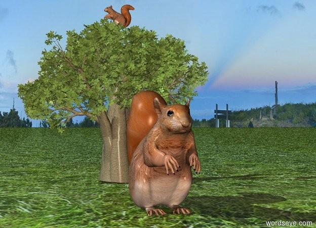 Input text: a 10 inch tall squirrel.ground is grass.behind the squirrel is a 20 inch tall  baobab tree.a 2nd 3 inch tall squirrel is -1 inch above the baobab tree.the 2nd squirrel is facing west.sun is forget me not blue.