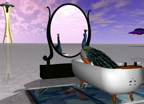 The bird is in the bathtub. The bathtub is on the matisse carpet. The ground is white tile. A large mirror is 2 feet in front of the bathtub. A tower is 2000 feet in front of the bathtub to the left. A flying saucer is 100 feet in front of the bathtub 99 feet to the left. The flying saucer is 10 feet over the ground.