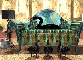 A van gogh sofa. A table one inch to the left of the sofa. A lamp is on the table. A swan is 5 inches in the sofa. The swan is facing the lamp. A wall is 6 feet behind the sofa. The wall is a mirror. The ground is tile. A white light is 5 feet over the swan. A small white swan is on the ground in front of the lamp. 3 small black swans are on the ground in front of the sofa. The small black swans are facing the sofa.