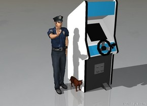a cat with a video game searching for a police officer