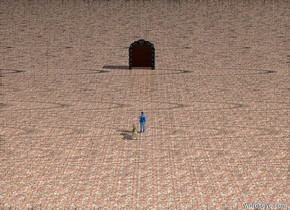 A small man is 3 inches in front and 1 inch to the left of the large dog. The ground is brick. The massive open door is 40 feet in front of the dog. The door is open
