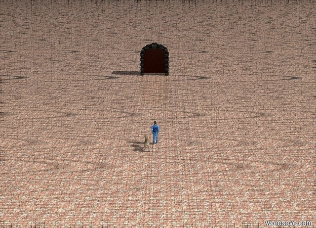 Input text: A small man is 3 inches in front and 1 inch to the left of the large dog. The ground is brick. The massive open door is 40 feet in front of the dog. The door is open