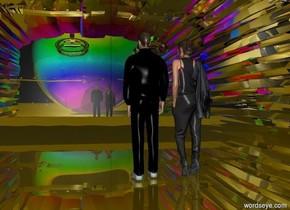 a silver door.the door is 40 feet wide.the door is 60 feet deep.the door is 20 feet tall.a man is -25 feet in front of the door.the man is facing the door.a woman is right of the man.the woman is facing the door.a 30 feet tall clear sphere is in front of the door.a 20 feet tall rainbow sphere is in front of the 30 feet tall sphere.the man is black.the ground is gold.[fire]sky.