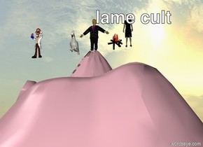 A man stands on top of a pink mountain. There is a huge cockatoo next to the man. there is fire on the right side of the man. it is sunny. there is another man far next to the cockatoo. there is a woman on the right of the fire. there is rainbow on the top.