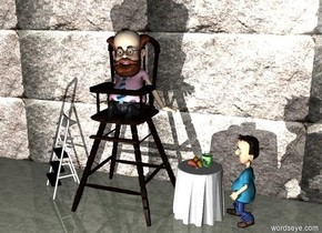 a 10 feet tall high chair.a man is -4.5 feet above the chair.a 30 feet tall wall is 1 feet behind the chair.the wall is 40 feet long.the ground is tile.the wall is stone.a step ladder is 6 inches left of the chair.the step ladder is facing southwest.a table is 6 inches right of the chair.a 1 feet tall group is on the table.a boy is right of the table.the boy is facing the man.it is night.a white light is 6 feet in front of the chair.