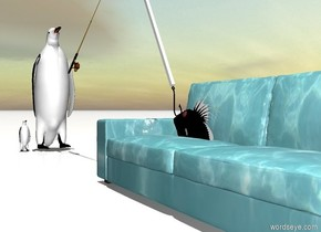 The sofa is water. The ground is snow. The large fish is 1 foot in the sofa. The fish is facing left. The fish is leaning 30 degrees to the back. The fish is -4 foot to the left of the sofa. A huge black hook is -1 foot over the fish. The hook is facing to the back. The hook is -2 feet to the left of the sofa. a rod is 1.5 foot to the left of the sofa. The rod is 3.2 feet over the ground. The rod is facing right. The rod is leaning 30 degrees to the back. A white stick is over the hook. The stick is -1.6 feet to the left of the sofa. The stick is leaning 30 degrees to the right. It is noon. A large bird is -2 inch to the left of the rod. The bird is -10 inch in front of the rod. The bird is 0 feet over the ground. The bird is facing the sofa. A small bird is in front of the bird. The small bird is facing the sofa.