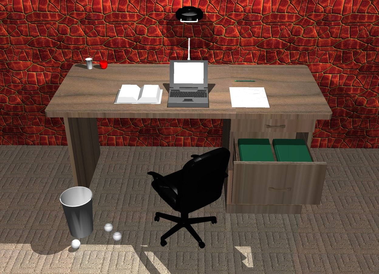 Input text: There is a wooden desk. On the desk is a computer. The paper is 6 inch to the right of the computer. The small cup is 2 foot to the left and 1 foot behind the computer. The pen is 4 inch behind the paper. The pen is leaning 90 degrees to the right. A chair is -20 inch in front of the desk. A small apple is 2 inches to the right of the cup. The chair is facing the apple. A big cup is 1 foot to the left of the chair. 1st paper ball is 2 inch to the right of the cup. 2nd paper ball is 1 inch in front of and 0.5 inches to the right of the 1st paper ball. 3rd paper ball is 1 inch in front of the big cup. The 1st book is leaning 90 degrees to the back. The 1st book is -14 inch in front of the desk and 2 foot above the ground. The 1st book is 9 inches to the right of the chair. The 2nd book is leaning 90 degrees to the back. The 2nd book is -14 inch in front of the desk and 2 foot above the ground. The 2nd book is 0.1 inches to the right of the chair. The 3rd book is 2 inch to the left of the computer. A lamp is 3 inches behind the computer. A light is 1 foot above the computer. The ground is carpet. A giant tile wall is  5 inches behind the desk.
