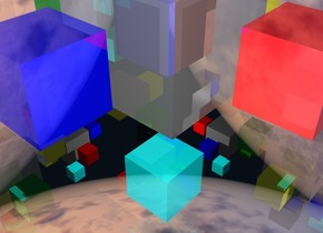 The shiny gray cube is 1 feet tall.  The clear white cube is 4 feet tall.  The shiny gray cube is -2.5 feet above the clear white cube.  The shiny black cube is 0.5 feet tall.  The shiny red cube is 0.5 feet tall.  The shiny green cube is 0.5 feet tall.  The shiny yellow cube is 0.5 feet tall.  The shiny cyan cube is 0.5 feet tall. The shiny blue cube is 0.5 feet tall.  The shiny black cube is -0.75 feet above the white cube.  The shiny cyan cube is -3.75 feet above the white cube.  The shiny red cube is -2.25 feet above the white cube.  It is 0.25 feet in front of the gray cube.  The shiny green cube is -2.25 feet above the white cube.  It is 0.25 feet behind the gray cube. The shiny blue cube is -2.25 feet above the white cube.  It is 0.25 feet left of the gray cube. The shiny yellow cube is -2.25 feet above the white cube.  It is 0.25 feet right of the gray cube.  The ground is silver.  The white cube is 2 feet above the ground.