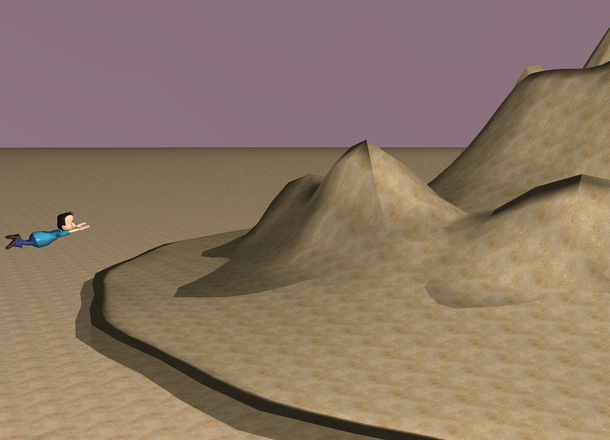 Input text: the ground is sand. a mountain of sand is facing a child. the child is facing the mountain. the child is 6 feet off the ground. the sky is lilac. the sun is bright