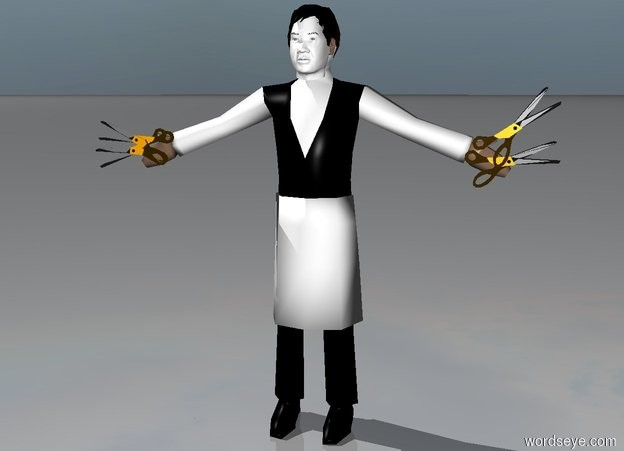Input text:  a waiter. the face of the waiter is white. 1st large scissor is -0.6 feet left of and -2.2 feet above the waiter. it faces back. 2nd large scissor is  -0.6 feet to the right of and -2.2 feet above the waiter. it leans 30 degrees to the right. 3rd  large scissor is -0.6 feet right of and -2.4 feet above the waiter. 4th  large scissor is -2.6 feet above and -0.6 feet to the left of the waiter. it faces back. it leans 25 degrees to the left. a head is -01 feet above and -0.9 feet to the front of the waiter. the head of the head is white. the eyebrow of the head is black.