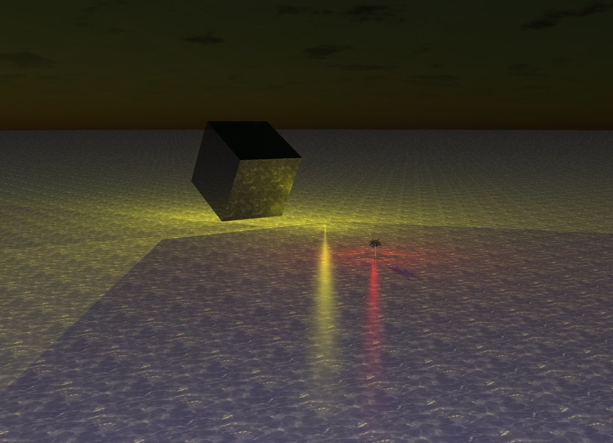 Input text: The [water] ground is dark blue. It is evening. There is a very enormous yellow light. The yellow light is 10 feet above the ground. A very enormous shiny black cube is in front of the yellow light. The cube is leaning 30 degrees to the front. The cube is leaning 40 degrees to the left. The cube is 3 feet above the ground. A miniature dark gray Palm tree is 40 feet in front of the cube. The trunk of the palm tree is dark gray. The Palm tree is 1 inch in the ground. The red light is behind the Palm tree. Another red light is above the Palm tree. The sun is orange. Another very enormous yellow light is above the 1st yellow light.