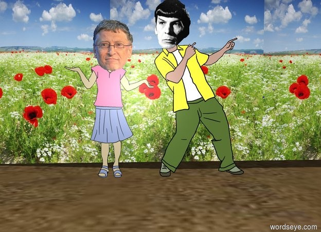 Input text: bill gates is next to leonard nimoy in the desert.  a [flower] wall is 3 feet behind nimoy.