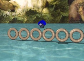 A blue hedgehog jumps over 6 bagels. The ground is water. The sky is hell.