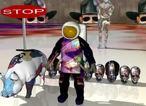 a large [tvman] astronaut. a very large [taz] pig is two feet away from the astronaut. the background is tiny [hank]. the ground is tiny [tvman]. 9 very tall [bernie] skulls are six feet behind the astronaut.a very wide stop sign is above the pig. a very large clear woman is forty feet behind the skulls.