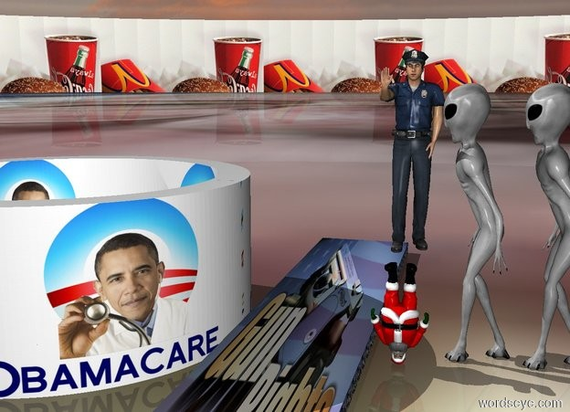 Input text: three very large aliens face each a three hundred feet tall and hundred inch wide and 600 inch deep [gunrights] cube. The ground is small [bernie]. the background is small [mac]. next to the cube is 10 feet tall and 300 inch wide upside down[obamacare] tube. a large policeman is behind a upside down small god