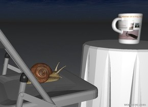 There is a [gifts] mug. The mug is on a small table. The sun is set. The sun is black. There is a small chair behind the table. There is a large snail on the chair.
