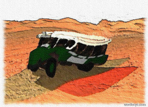 A Bus is on the desert. A red light is five feet above the bus. The sky is grey and cloudy.