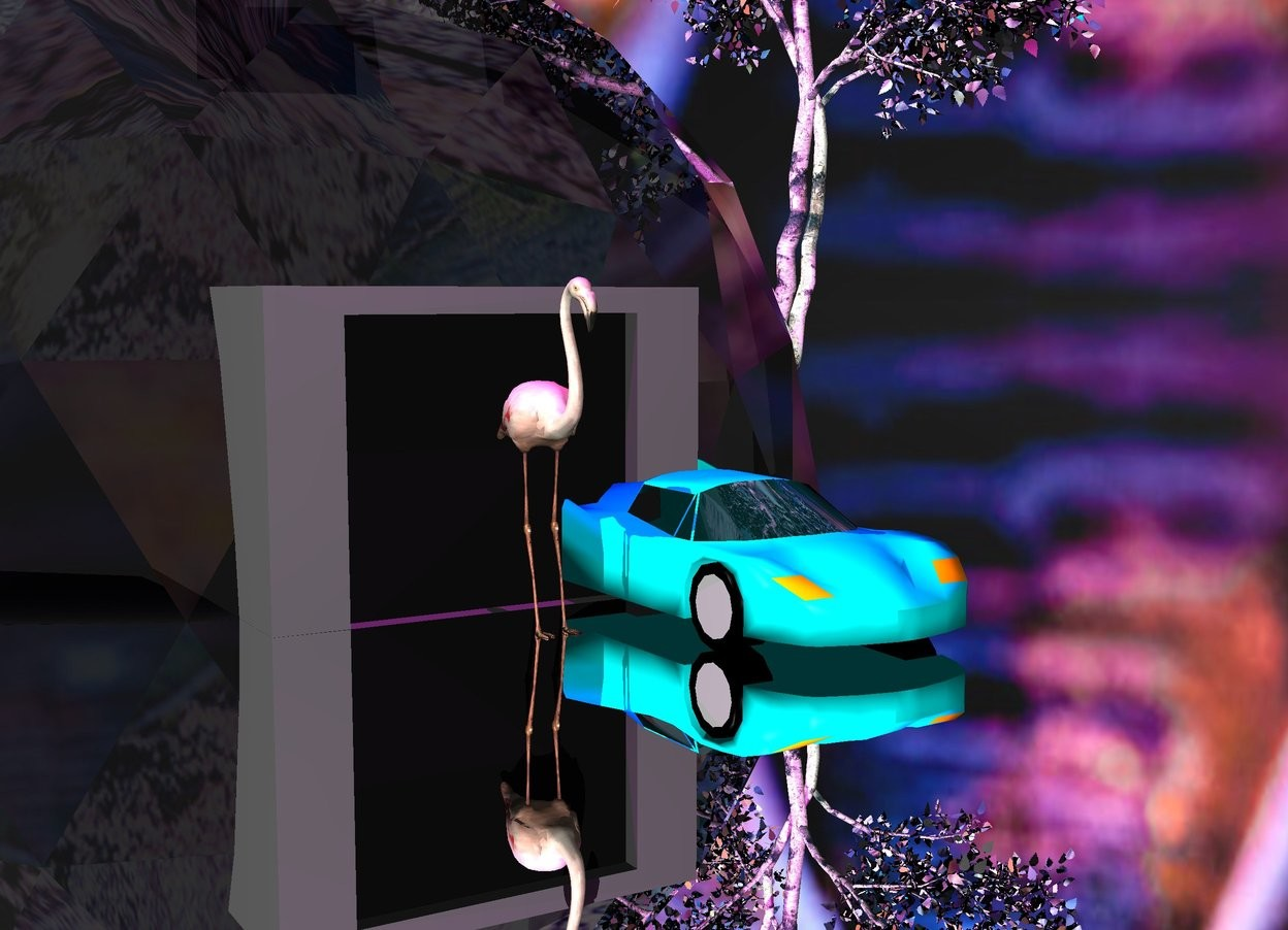 Input text: The flamingo is in front of a big building. The flamingo is 7 feet tall. The ground is silver. A cyan car is 1 feet to the right of the flamingo. The sky is [image-10421]. There is a very bright light magenta light 10 feet above the flamingo. There is a silver colored tree 4 feet behind and 8 feet to the right of the flamingo.